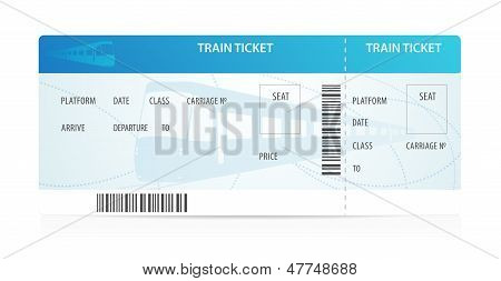 Vector Train ticket (tamplate / layout) with silhouette on background