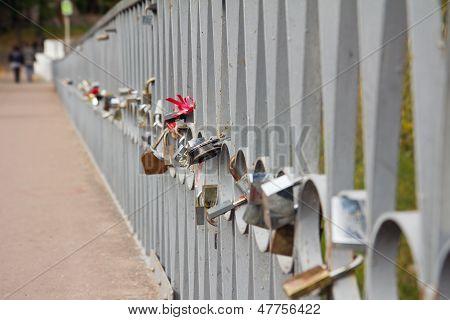 Many Padlocks On The Bridge