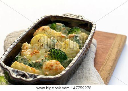 Gratin Of Cauliflower, Broccoli And Cheese