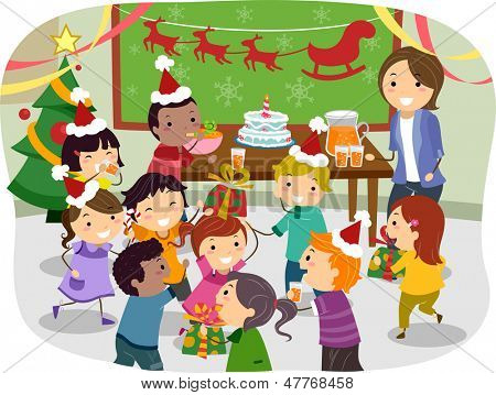 Illustration of Stickman Kids Having a Christmas Party at School