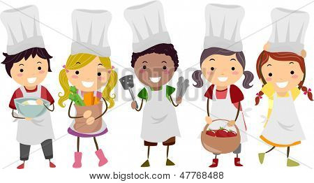 Illustration of Stickman Kids as Little Chefs