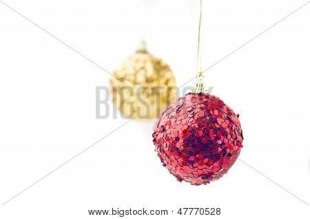 Yellow and red ball decorations