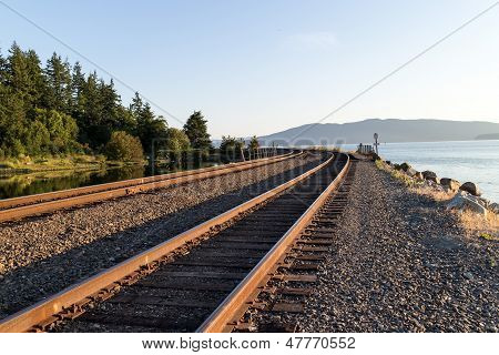 some train tracks stretching round the bend poster