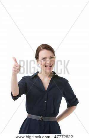 Laughing Woman Giving A Thumbs Up Gesture