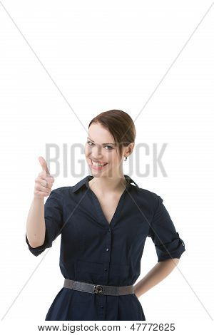 Optimistic Woman Giving A Thumbs Up