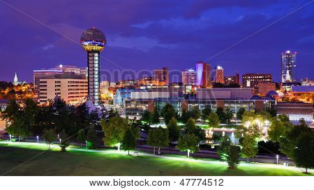 Skyline of downtown Knoxville, Tennessee, USA. poster