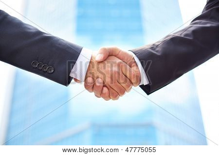 Close-up of business partners shaking hands to do business together poster