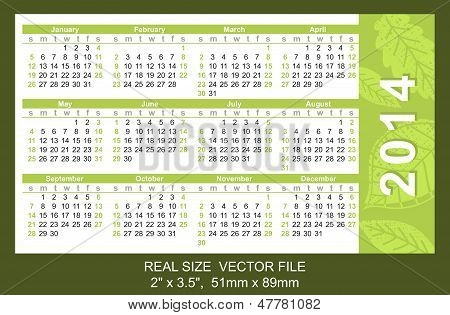 Pink Pocket Calendar 2014, Start On Sunday