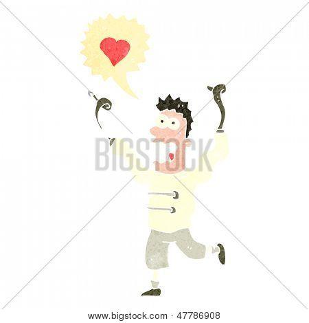 retro cartoon man crazy in love