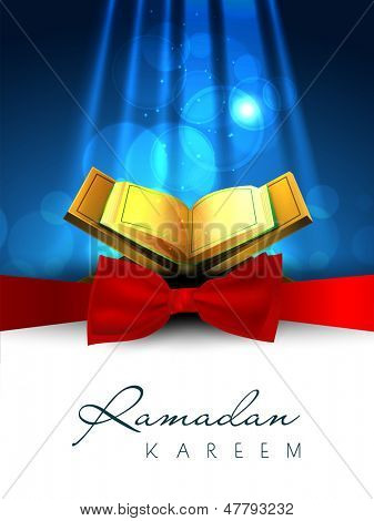 poster of Muslim community holy month of Ramadan Kareem background with open islamic religious book Quran Shareef.