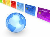 Globe and colorful credit cards.Isolated on white.3d rendered. poster