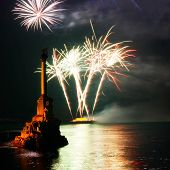 Salute and fireworks above the Sevastopol bay. poster
