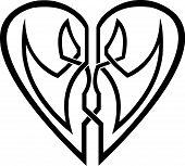 Celtic heart - tribal tattoo - vector illustration poster