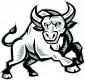 Illustration of an angry raging bull facing front snorting done in retro woodcut style. poster