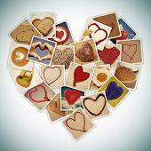 a collage of different snapshots of hearts and heart-shaped things, forming a heart, with a retro effect poster