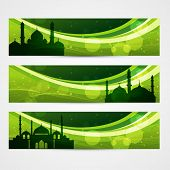 beautiful set of ramadan and eid banners poster