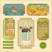 Organic Products. Vintage Labels set Retro Farm Food Emblems. Vector Illustration. poster