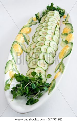 Whole Poached Salmon With Cucumber And Watercress