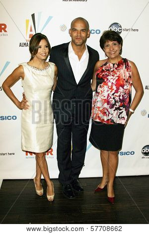 Eva Longoria Parker with Janet Murguia and Amaury Nolasco  at the 2009 NCLR ALMA Awards Nomination Announcement Press Conference. Beso, Hollywood, CA. 08-25-09