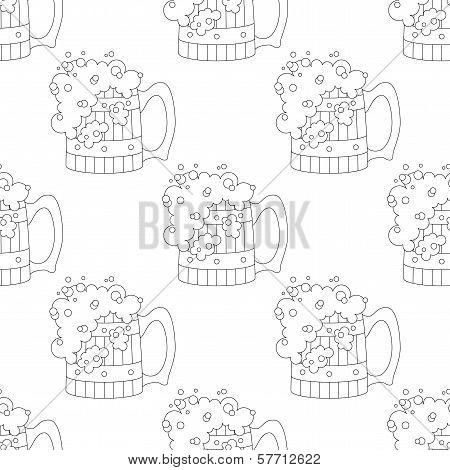 Beer mugs, seamless, contour