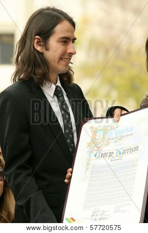 Dhani Harrison at the ceremony posthumously honoring George Harrison with a star on the Hollywood Walk of Fame. Vine Boulevard, Hollywood, CA. 04-14-09