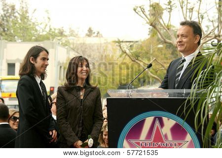 Dhani Harrison with Olivia Harrison and Tom Hanks at the ceremony posthumously honoring George Harrison with a star on the Hollywood Walk of Fame. Vine Boulevard, Hollywood, CA. 04-14-09