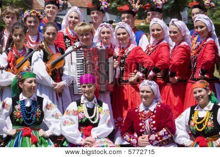 Banja Luka - June 21 - Young People In Traditional Polish Ethnic Clothing On International Folk Danc