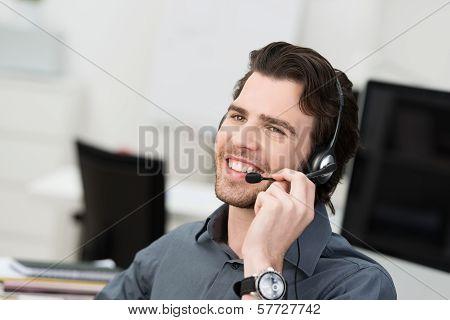 Businessman Using A Headset