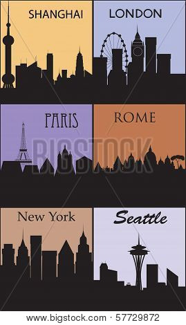 Silhouettes Of Famous Cities.