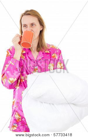 Sleepy Woman Drinking Morning Coffee