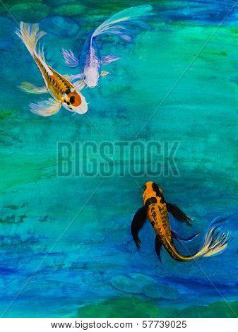 Three Butterfly Koi