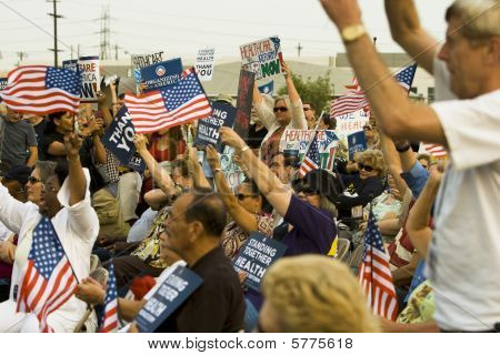 Healthcare supporters rally in Los Angeles,