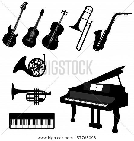 Set Of Silhouette Musical Instrument Icons