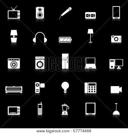 Electrical Machine Icons With Reflect On Black Background