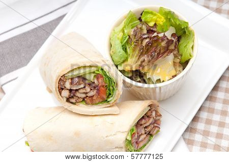Kafta Shawarma Chicken Pita Wrap Roll Sandwich