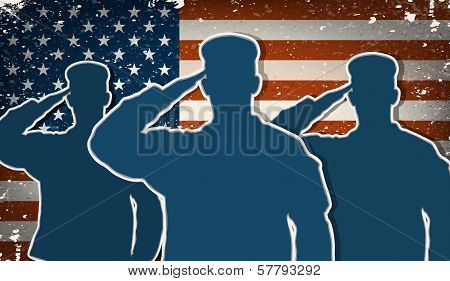 Three Us Army Soldiers Saluting On Grunge American Flag Background Vector