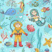 Mermaid and diver seamless pattern. Vector cartoon background. poster