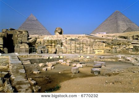 The Sphinx And The Pyramids, Giza, Egypt.