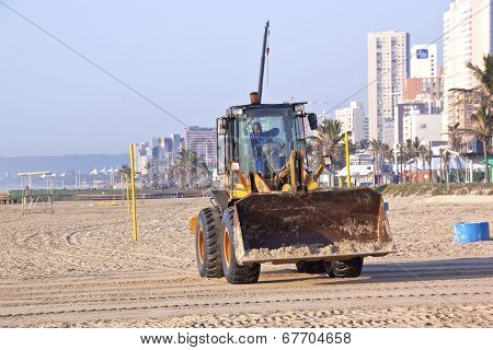 Payloader Working On Beach In Durban South Africa