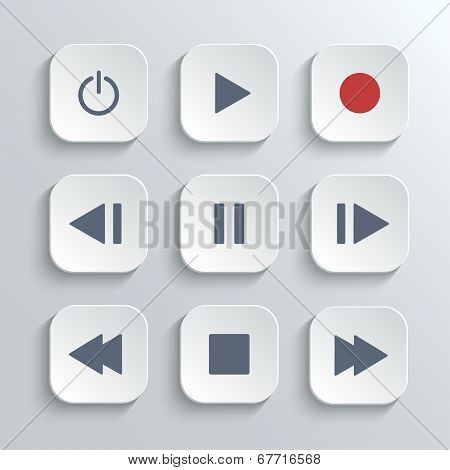 Media player control ui icon set- vector white app buttons with home poster