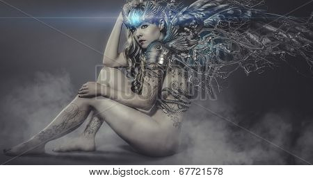 naked woman with iron and metal wings, art scene with gothic effects