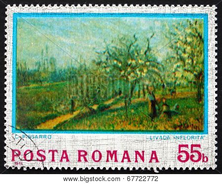 Postage Stamp Romania 1974 Orchard In Bloom, By Camille Pissarro