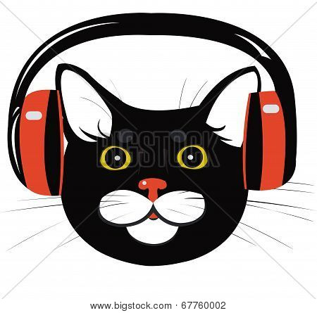poster of black cat in the music headphones - illustration