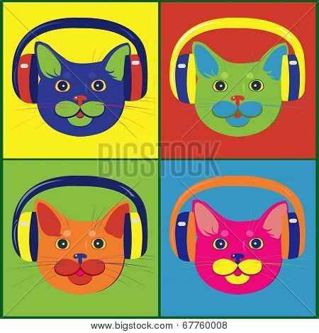 poster of Set of multicolored cats in the music headphones in colored style