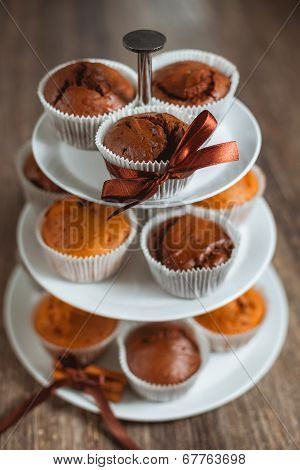 Different Muffins In A Vitrine
