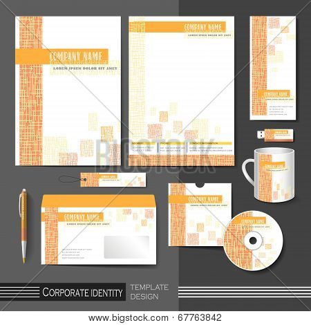 corporate identity template with orange mesh elements. abstract background vector illustration poster