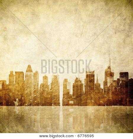 retro style grunge image of new york skyline poster