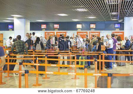 MADRID, SPAIN - MAY 28, 2014: Interior of Madrid airport, departure waiting aria