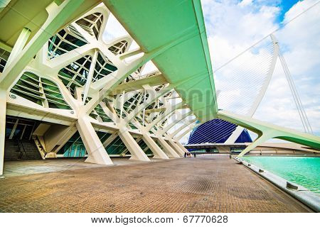 VALENCIA, SPAIN - APRIL 24, 2014: Designed by Santiago Calatrava and Felix Candela, the project underwent the first stages of construction in July 1996 and the finished