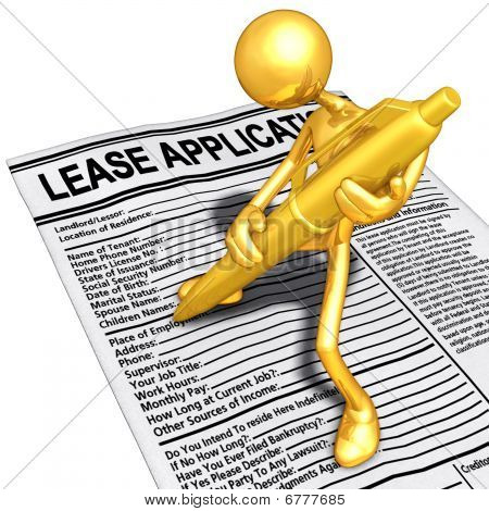 Gold Guy Filling Out A Lease Application With Gold Pen